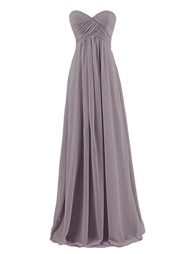 Brautjungfernkleider Trägerlos Chiffon Lang Günstig Ballkleider Abendkleider Partykleider Grau JAEDEN dPawRxa