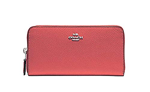 Coach Pebbled Leather Accordian Zip Wallet - #F16612 - Coral/Silver