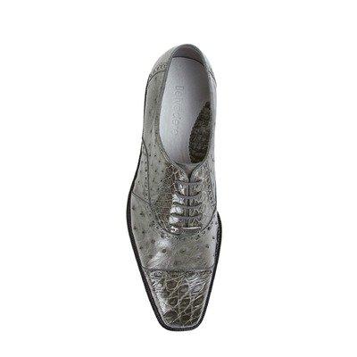 Belvedere Onesto II Genuine Ostrich and Crocodile Oxford Shoe 13 Grey ()