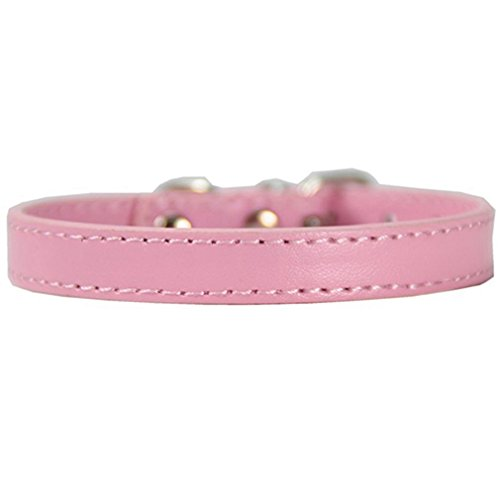 Alcyoneus Adjustable Faux Leather Solid Color Dog Cat Puppy Neck Strap Pet Collar (S, Light Pink) ()