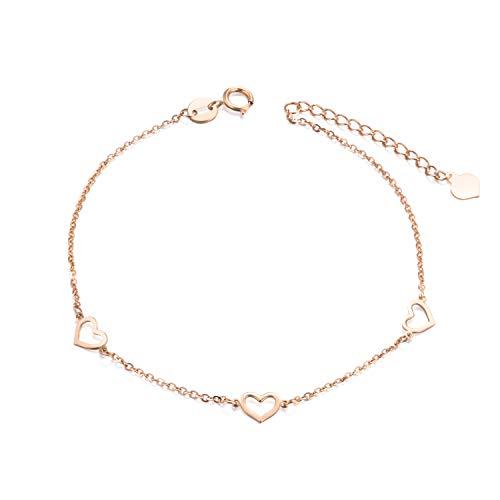 SISGEM 18k Gold Heart Bracelet, Solid Rose Gold Bracelets for Women Fine Jewelry, Adjustable -