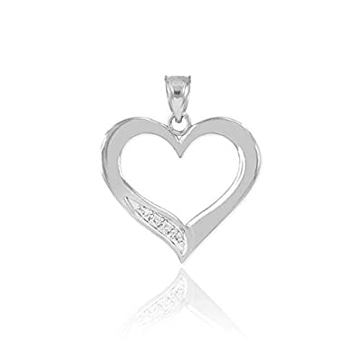 925 Sterling Silver CZ-Studded Pendant Open Heart Necklace