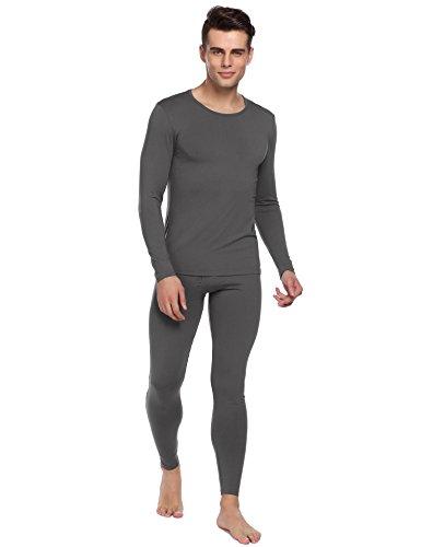 Sleeve Underwear Cotton Set Long (Ekouaer Thermal Set Men's 2pc Long John Underwear Soft Cotton Blend Shirt & Pants  Lightweight Modal-dark Gray X-Large)