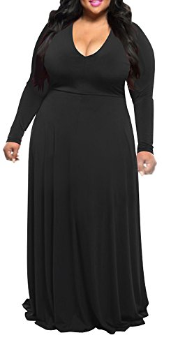 3b47f736e64 Delcoce Womens Sexy Deep V-Neck Long Sleeve Plus Size Evening Party Maxi  Dresses