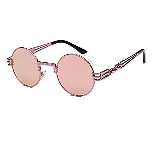 Classic sol gafas Rosa redondo colorido Púrpura punky de personalidad UV400 Retro marco reflexivo zOwzrSHx