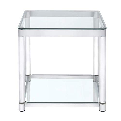 Coaster 720747-CO 1 Shelf Glass Top End Table, Chrome