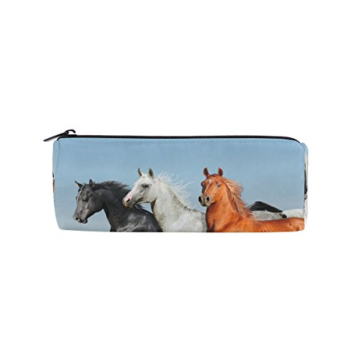 ALAZA Arabian Horses In Winter Canvas Pencil Case Large Capacity Storage Zipper Pouch Bag School Stationery Pen Bag Round by ALAZA