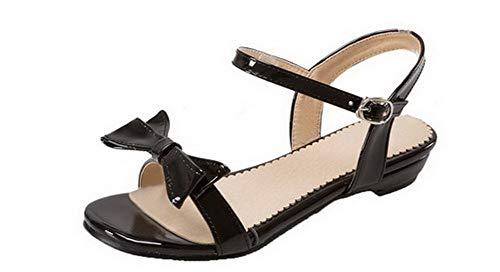 AalarDom Women's Low-Heels Pu Solid Buckle Open-Toe Sandals,