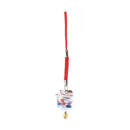 uxcell Ceramic Maneki Neko Bell Pendant Mobile Phone Strap 95mm Length White