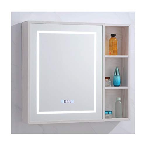XCJ Bathroom Cabinet Mirror Cabinet Bathroom Cabinet, LED Illuminated Bathroom Mirror Cabinet -