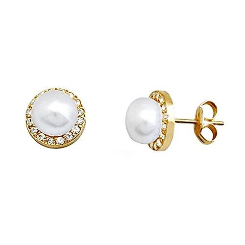 Boucled'oreille 18k 6mm perle d'or. zircons bouton cultivé [AA6158]