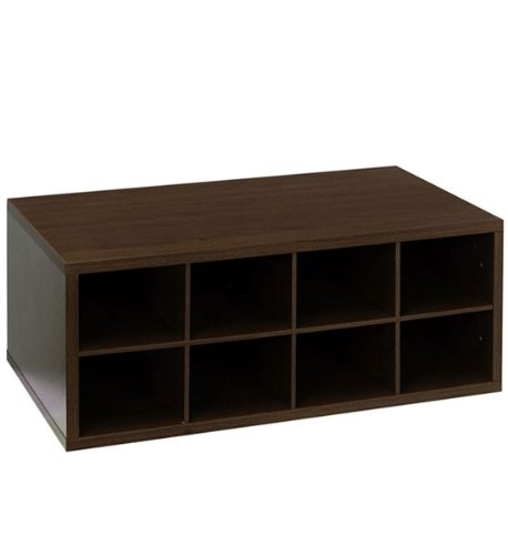 Organized Living freedomRail 8-Cubby Shoe Storage OBox - Chocolate Pear