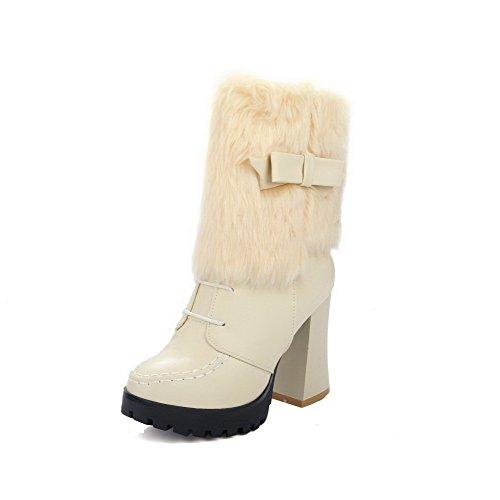 AllhqFashion Womens Zipper High-Heels PU Solid Low-Top Boots, Beige, 40