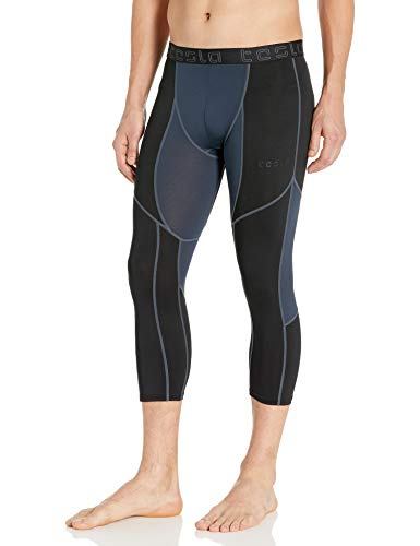 TSLA Men's Compression 3/4 Capri Pants Baselayer Cool Dry Sports Running Yoga Tights from TSLA