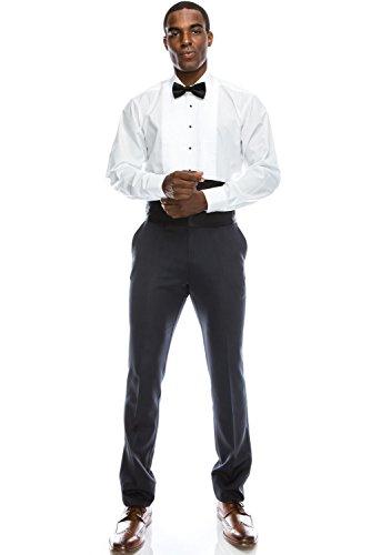 (JC DISTRO Spread Collar Formal Dress Shirt Pleated Tuxedo Shirt (L), 16-16.5N-34/35S )