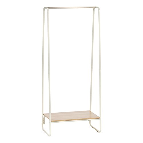 IRIS Metal Garment Rack with Wood Shelf, White and Light Brown]()