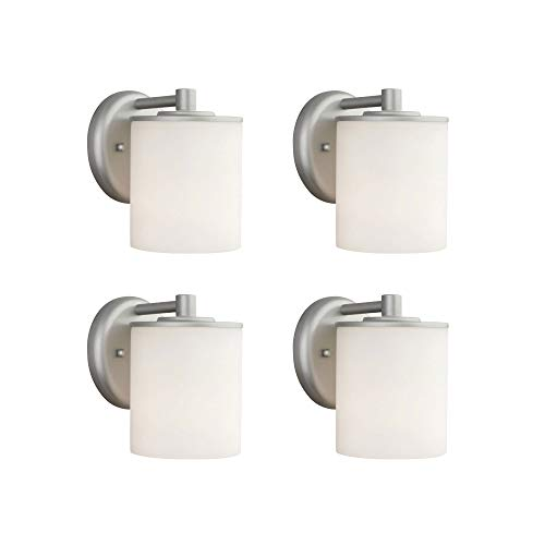 Philips Forecast 60W Rounded Outdoor Wall Lantern Light, Vista Silver (4 Pack)