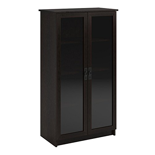 (Ameriwood Home Quinton Point Glass Door Bookcase, Espresso)