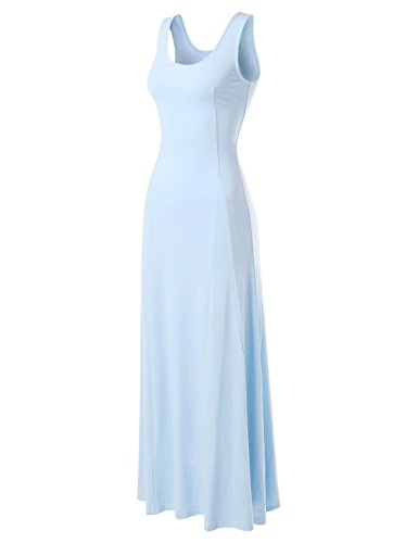 NEARKIN (NKNKWNLD642 Beloved Womens Figure Hugging Sleeveless Maxi Dress Sky US XL(Tag Size 2XL)