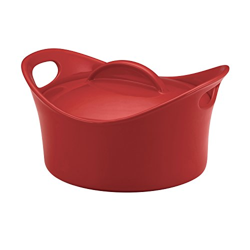 Rachael Ray Stoneware 2.75-Quart Casseround Covered Round Casserole, Red