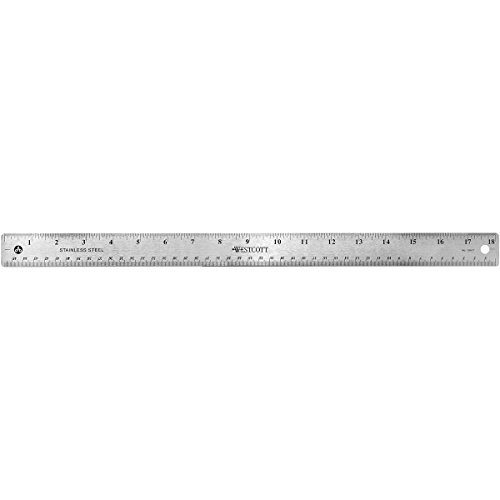 Westcott Stainless Steel Office Ruler With Non Slip Cork Base, 18 Inches