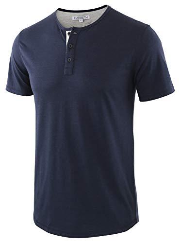 HARBETH Men's Casual Soft Athletic Regular Fit Short Sleeve Henley Jersey Shirt Navy/H.Oatmeal S