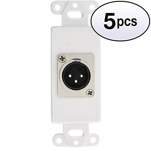 GOWOS (5 Pack) Decora Wall Plate Insert, White, XLR Male to Solder Type Decora Wall Mount Plate