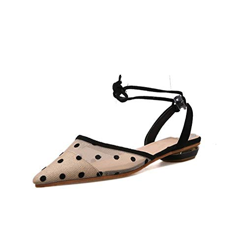 Sandals Summer Wave Point Mesh Pointed Flat Shoes Female Shallow Mouth Lace Fairy Shoes,Beige,39
