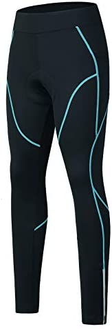 SPOEAR Women's Thermal Fleece Cycling Pants Padded Cold Weather Compression Bike Ti