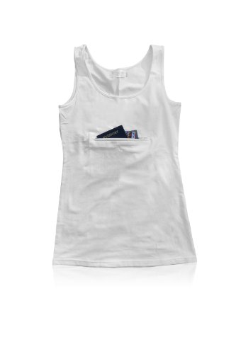 Clever Travel Companion Tank top with secret pocket White Medium, Bags Central