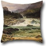 16 X 16 Inches / 40 By 40 Cm Oil Painting Thomas Fearnley - The Labro Falls At Kongsberg Pillow Shams,2 Sides Is Fit For Husband,divan,bar,home Theater,bedroom,lounge