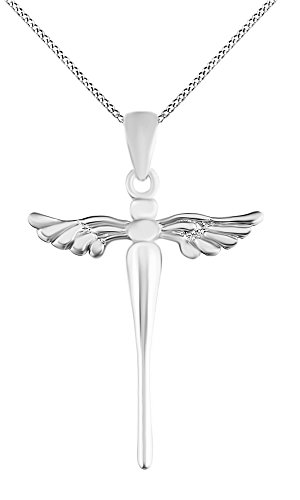 Angel Wing Christ Cross Pendant Necklace 14K White Gold Over Sterling Silver