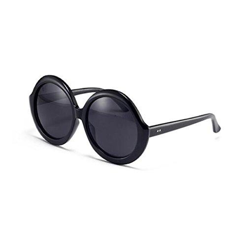 Vintage Redondo De HOME Gafas Personalidad QZ Negro Negro Gran Simple Polarizada De Harajuku Luz Color Marco Moda Sol 0qv4Fp