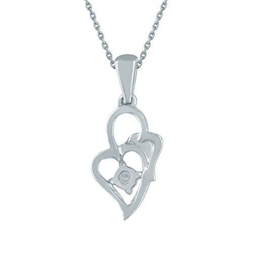 Giantti 14carats Diamant pour femme Collier Pendentif cœur (0.1104CT, VS/Si-clarity, Gh-colour)