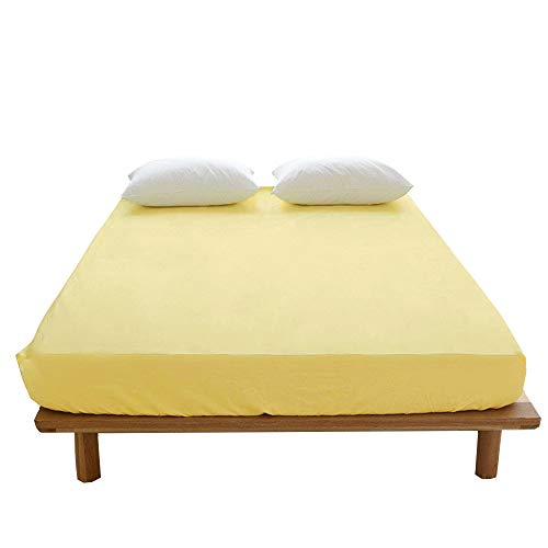 - VM VOUGEMARKET Yellow Fitted Sheet Queen with 15
