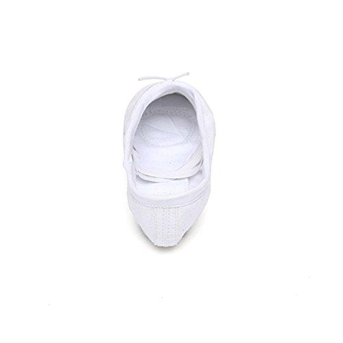Labu Store Yoga Gym Flat Slippers White Pink White Black Canvas Ballet Dance Shoes For Girls Children Women Teacher by Labu Store (Image #2)