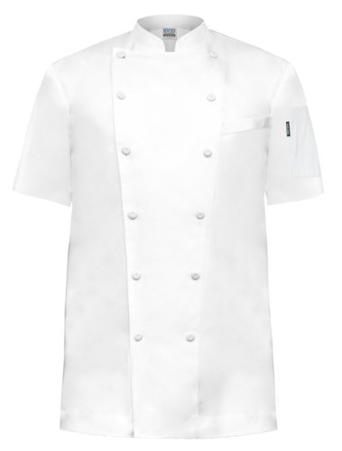 Newchef Fashion Prince White Egyptian Cotton Chef Coat Breast Pocket Short Sleeves M (Mens Egyptian Cotton Chef Coat)