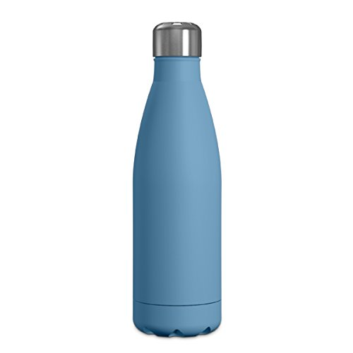 (Geo Double Wall, Vacuum Insulated Stainless Steel Water Bottle, 16.9 oz, Narrow Mouth, Hot & Cold (Pacific Blue))