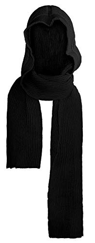 Bellady Winter Soft Pullover Hoodie Knit Ski Hood Long Scarf Wrap, Style2_black, One Size