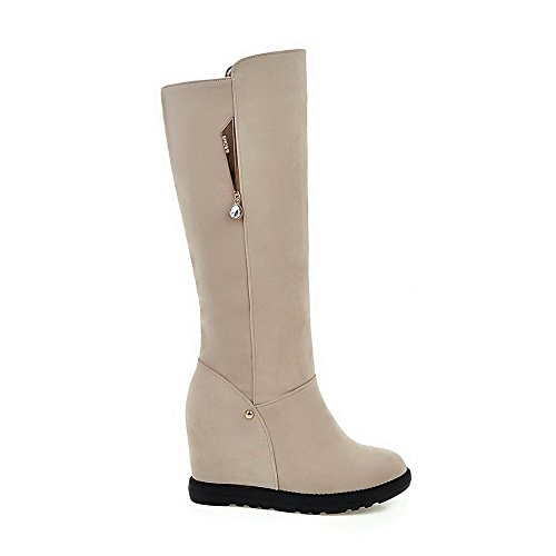 charms Round Solid Blend Closed Women's Boots Allhqfashion Beige Toe Materials Sx76znnAq