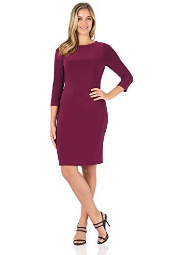 Rekucci Women's Classic Chic Shift Dress (6,Wine)