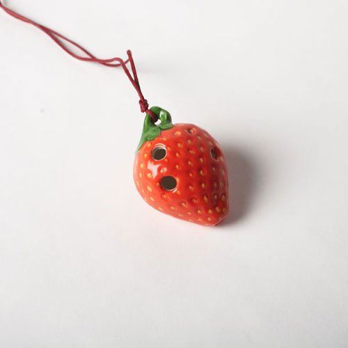 4 Hole Pendant Ocarina - Strawberry Design -