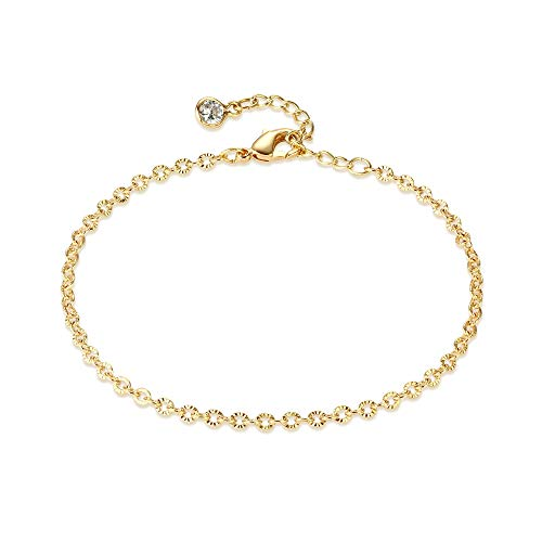 Dremmy Studios Dainty Gold Cable Chain Bracelet,14K Gold Plated Textured Cable Chain Bracelets,Link Bracelets for Women