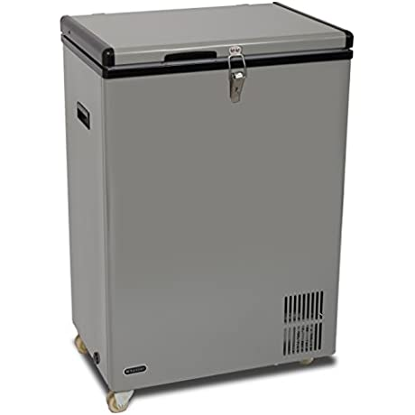 Whynter FM 951GW 95 Quart Portable Wheeled Freezer With Door Alert And 12V Option Gray