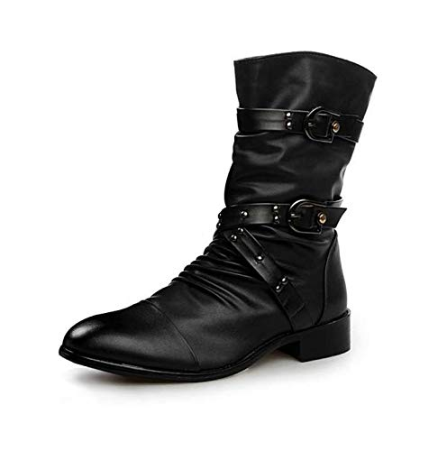 Black HYLFF Men Martin Boots Retro Zip Up Chelsea Dealer Work Formal Ankle Cowboy Biker Boots shoes Classic Boots Half Length