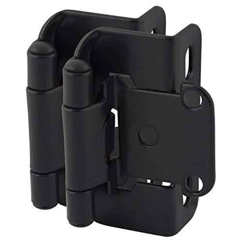 10 Pair Pack - Cosmas 27550-FB Flat Black Self Closing Partial Wrap Cabinet Hinge 1/2