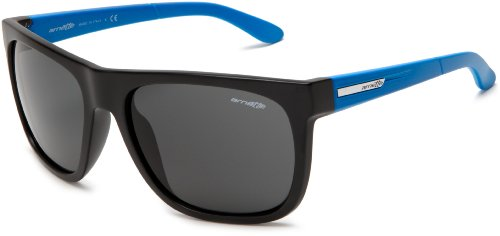 Arnette Men's Fire Drill AN4143-08 Wrap Sunglasses,Matte Black/Blue Temple/Grey,One - Fire Drill Arnette