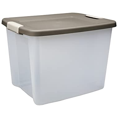 Sterilite 19378606 50 Quart/47 Liter Shelf Totes, Driftwood Lid with a Clear Base and Light Platinum Latches, 6-Pack