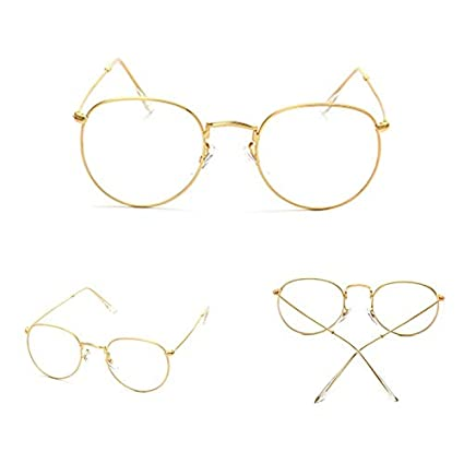 b42e69db40c Image Unavailable. Image not available for. Color  KathShop New Vintage Men  Women Eyeglass Frame Glasses Round Spectacles Clear Lens Optical