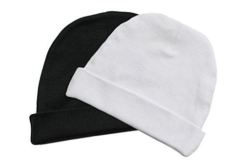 Fade Knit Beanie - Infant Kids Soft Cute Lovely Knit Hat Beanies Cap in Black and in White (Set of Two)